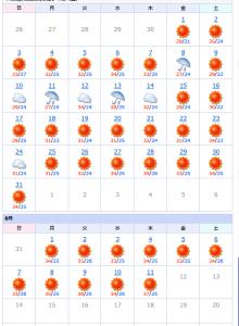 7月から8月の天気